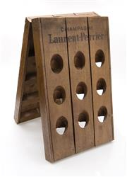 Sale 8202A - Lot 88 - An early French oak small scale 18 bottle riddling rack, made for 'Laurent Perrier' champagne, 60 x 38cm