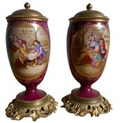 Sale 8268A - Lot 62 - A PAIR OF FINE ANTIQUE CONTINENTAL LIDDED URNS