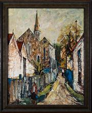 Sale 8313A - Lot 23 - George Feather Lawrence - Suburban lane with steeple 50 x 40cm