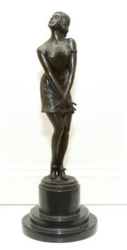 Sale 8341A - Lot 11 - A Godard bronze of women in slip, Paris, C20th, modelled in a coy pose wearing a slip, with depose stamp, set upon marble base, H 26cm