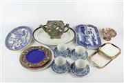 Sale 8405 - Lot 100 - Japanese Blue Willow Platter with Other Ceramics incl. Royal Winton