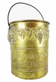 Sale 8828A - Lot 90 - French early 20th C  brass  Moet and Chandon champagne bucket with handle , some dents wear- 20 cm
