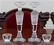 Sale 8908H - Lot 46 - A pair of Bohemian semi frosted glass candlesticks, together with a pair of small examples. Height 26cm