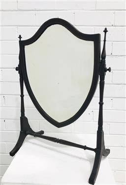 Sale 9097 - Lot 1026 - Sheraton Style Inlaid Mahogany Toilet Mirror, with shield shaped mirror & finely turned supports and stretcher (h:63 x w:44cm)