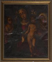 Sale 9087 - Lot 2008 - Early Italian School Madonna & Child, oil on canvas (AF - numerous repaired punctures) frame: 87 x 74 x 3 cm, unsigned