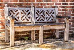 Sale 9191W - Lot 479 - A weathered teak chinoiserie design outdoor bench H.96cm W.150cm D.71cm