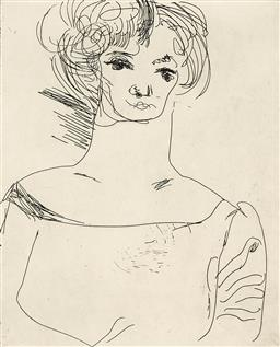 Sale 9216A - Lot 5005 - ARTHUR BOYD (1920 - 1999) Image XVII - The Muse, 1993 (from Muse & Writer Series) etching, ed. 30/35 25 x 20 cm (frame: 67 x 47 x 3 ...