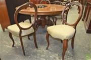 Sale 8282 - Lot 1090 - Set of Four Victorian Carved Walnut Balloon Back Chairs, on cabriole legs