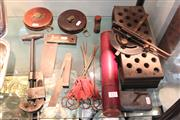 Sale 8360 - Lot 173 - Barnes Tool Company Pipe Cutter with Other Old Tools incl Measures