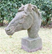 Sale 8422A - Lot 5 - An old stoneware horse head, height 63cm