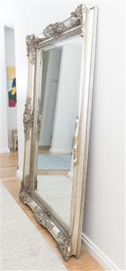 Sale 8471H - Lot 6 - An oversized bevel edge mirror in decorative silvered frame of shell form and foliate design, approx. 220 x 160cm