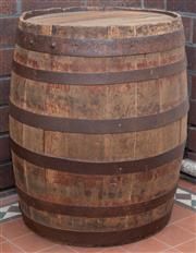 Sale 8530A - Lot 345 - An antique oak wine barrel with metal hardware, W 48 x D 48 x H 58cm