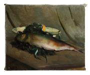 Sale 8586A - Lot 73 - Gve Durand, French School, 1863-1938 - Still Life, Fish canvas size 50 x 61cm