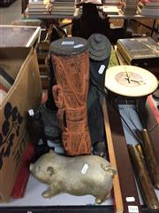 Sale 8659 - Lot 2435 - Collection of Sundries incl Figures, Vases, Tribal Drum, etc