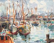 Sale 8764 - Lot 507 - Gaston De Vel (1924 - 2010) - Fishermens Wharf, 1972 39.5 x 48.5cm