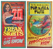 Sale 8822 - Lot 1080 - Hand Painted Double Sided Easter Show Banner Freak Sights and Piranha Fish (200 x 120cm)