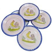 Sale 8828B - Lot 53 - A set of 5 early French faience majolica plates decorated with chickens. 22 cm