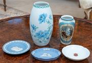 Sale 8908H - Lot 29 - A small group of porcelain wares including a Limoges chrysanthemum vase, a Viennese smaller example, two Wedgwood pin dishes and one...