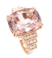 Sale 8937 - Lot 379 - AN 18CT ROSE GOLD MORGANITE AND DIAMOND COCKTAIL RING; corner claw set with a 14.45ct rectangular cushion cut morganite to stepped s...