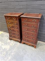 Sale 8988 - Lot 1017 - Pair of Victorian Style Six Drawer Chests (H: 88 x W: 45 x D: 33cm)