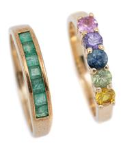 Sale 9083 - Lot 312 - TWO GOLD GEMSTONE RINGS; one 9ct channel set with square cut emeralds, size R, wt. 2.44g, other in 14ct claw set with a pink and pur...