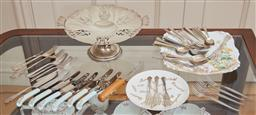 Sale 9098H - Lot 52 - A large quantity of afternoon tea wares including silver plated stand, pastry forks, cheese dish etc.