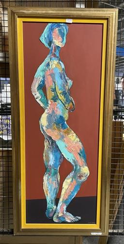Sale 9135 - Lot 2039 - Valda Morris Standing Nude oil on board, frame: 101 x 45 cm, signed lower right