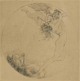 Sale 9178 - Lot 566 - NORMAN LINDSAY (1879 - 1969) Sweet Mother, 1924 etching and stipple, edition of 70 [unpublished] 7.5 x 7.5 cm (frame: 30 x 24 x 2 cm...