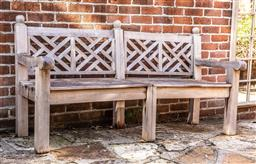 Sale 9191W - Lot 480 - A weathered teak  Chinoiserie design three seater outdoor bench H.96cm D.71cm W.180cm