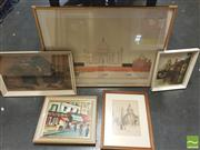 Sale 8413T - Lot 2065 - Group of assorted artworks including original oil paintings, coloured etchings, pencil drawing decorative prints