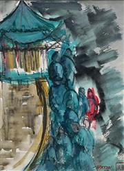 Sale 8583 - Lot 569 - Elaine Haxton (1909 - 1999) - The Chinese Pagoda, 1969 14.5 x 29cm