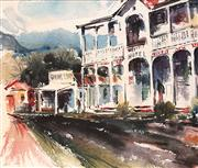 Sale 8682 - Lot 2041 - Joan Mors (1929 - ) - Nimbin Main Street near Lismore, watercolour, 30 x 36cm, signed lower right -
