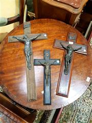 Sale 8693 - Lot 1016 - Three Antique & Vintage Crucifixes, one ebonised with French label, another rosewood & one carved in branch style