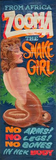 Sale 8822 - Lot 1091 - Vintage Sideshow Alley Banner Zooma the Snake Girl ex. Easter Show (300 x 120cm)