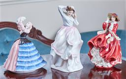 Sale 9103M - Lot 511 - A group of three Royal Doulton figures including Veronica HN3205, Susan HN4777 and Top o the hill HN1834, small chip to dress