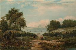 Sale 9244A - Lot 5085 - JOHN LOCKER (C19TH) Pastoral Scene Overlooking a Harbour oil on canvas 39 x 60 cm (frame: 61 x 81 x 4 cm) signed lower right