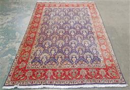 Sale 9240 - Lot 1009 - Handknotted pure wool re & blue coloured Persian carpet (295 x 200cm) some fading