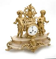 Sale 8202A - Lot 90 - An antique French gilt metal and alabaster mantle clock, with key and pendulum, 38 x 40 cm