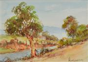 Sale 8323A - Lot 62 - John Hingerty (1930 - ) (2 works) - The Red Mailbox; Along the River 18 x 26.5cm, each
