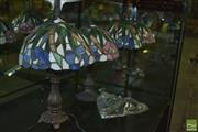Sale 8380 - Lot 1016 - Set of Four Leadlight Shade Table Lamps