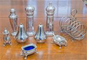 Sale 8402H - Lot 42 - A quantity of EPNS tablewares comprising salt and pepper pots and a toast rack