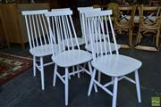 Sale 8532 - Lot 1367 - Set of Six White Spindle Back Dining Chairs