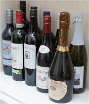 Sale 8800 - Lot 252 - A collection of 8 x bottles of red wine & 2 x bottles of champagne