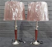 Sale 8979 - Lot 1033 - Pair of UK Chrome and Leatherette Table Lamps - 5701 (62cm)