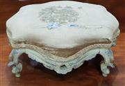 Sale 8993 - Lot 1070 - Small 19th Century Rococo Style Carved Footstool, with duck-egg blue ground & flroal detail, the silk upholstery distressed