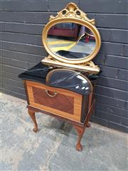 Sale 8996 - Lot 1055 - Small Bedside with Retro Fitted Mirrored Back (H: 103 x W: 53.5 x D: 35cm)