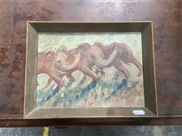 Sale 9094 - Lot 2072 - Dora Toovey Pink Elephants On the Move oil on canvas laid on board 22 x 30cm, signed