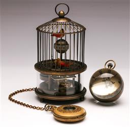 Sale 9136 - Lot 226 - A reproduction bird cage clock together with A faux reproduction pocket watch and ball clock