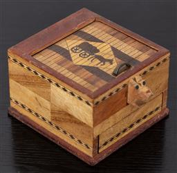 Sale 9162H - Lot 53 - An inlaid timber cigarette dispenser with dog motif, Height 7cm x Width 9.5cm x 9.5cm