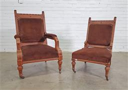 Sale 9179 - Lot 1002 - Pair of Victorian Gothic Style Gentlemans & Ladys Chairs, with carved & ebonised details, upholstered in brown velvet & raised on...